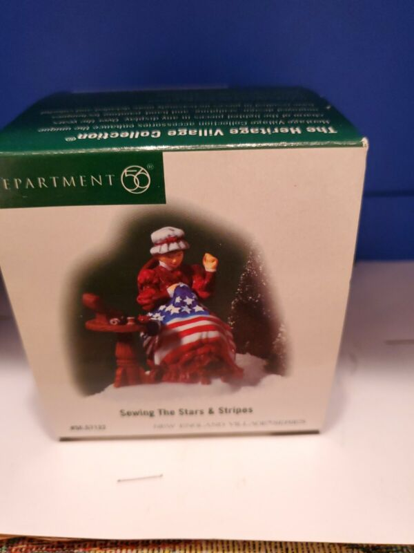 Department 56: Sewing The Stars & Stripes - New England Village - RARE