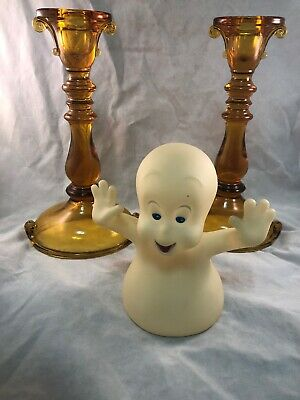 Vintage Halloween Glowing Casper The Friendly Ghost & Amber Candlestick Holders