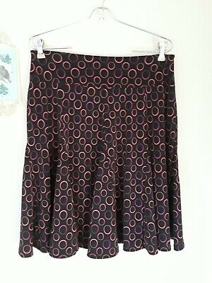 Apt 9 Medium Petite Black Pink Circle Print Poly Spandex Knit Flare Skirt