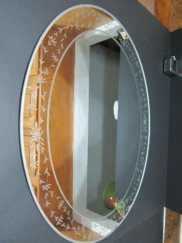 "Vintage Oval Borderless Wall Mirror - Floral Etched Design 29""x23"" Vert or Horiz"