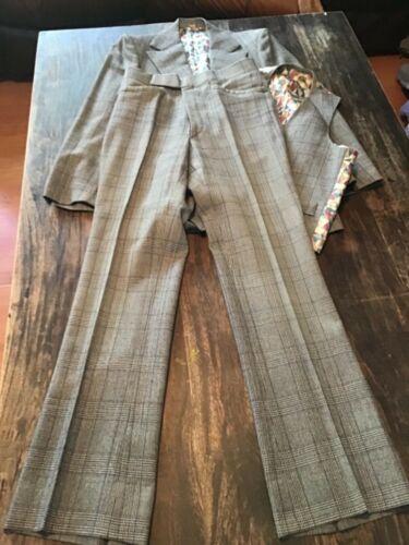 Vintage Mens 60s 3 Piece Suit Grey Striped W/Great Lining Hippie BoHo GRODINS Ca