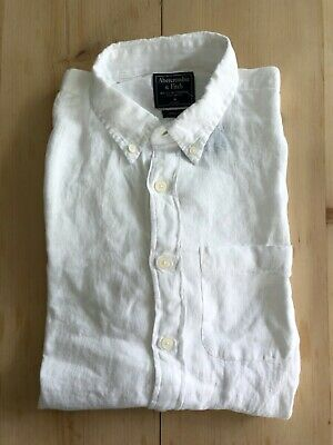 New Abercrombie and Fitch Mens White Linen Signature Shirt - Medium