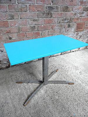 Original  RETRO 1960 METAL BASE BLUE PAINTED RETRO TABLE