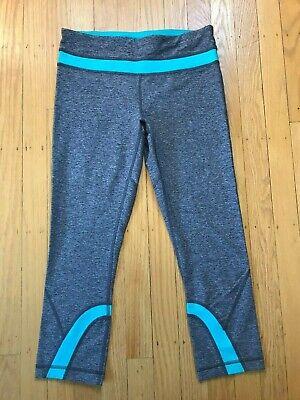 NWOT Lululemon Run Inspire Crop - Size 6 - Heathered Black Blue Tropics
