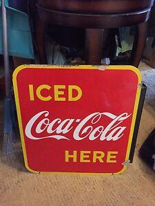 Porcelian Coca Cola flange sign