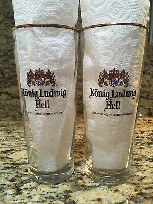 Konig Ludwig Hell German Bavarian Beer Glasses 2 With Coasters RARE