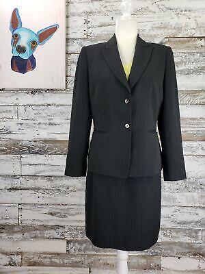 Tahari Arthur S. Levine Womens Two Button Skirt Suit Black White Pinstripe Sz 8 Two Button Womens Skirt Suit