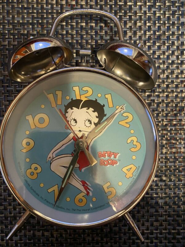 Vintage 1998 Betty Boop Twin Bell Ringer Alarm Clock Wind Up Works Great!