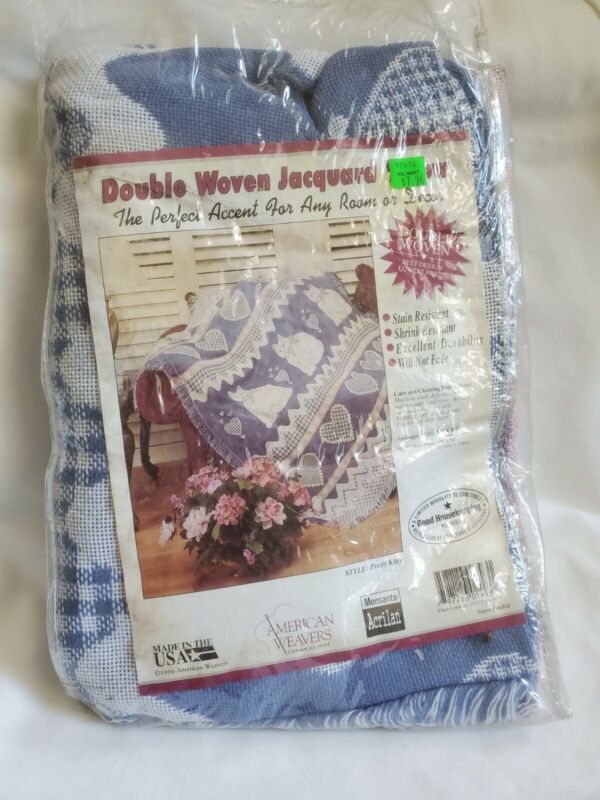 VTG Pretty Kitty Double Woven Jacquard Tapestry Throw Blanket Afghan Cover
