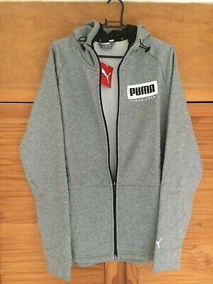 Puma Hoodie Hoody Zip Jumper New Grey Size Medium