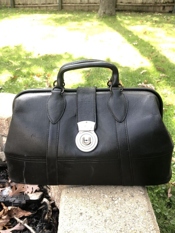 Mens Black Antique Leather Doctors Travel Camera Bag Briefcase Schell Beautiful