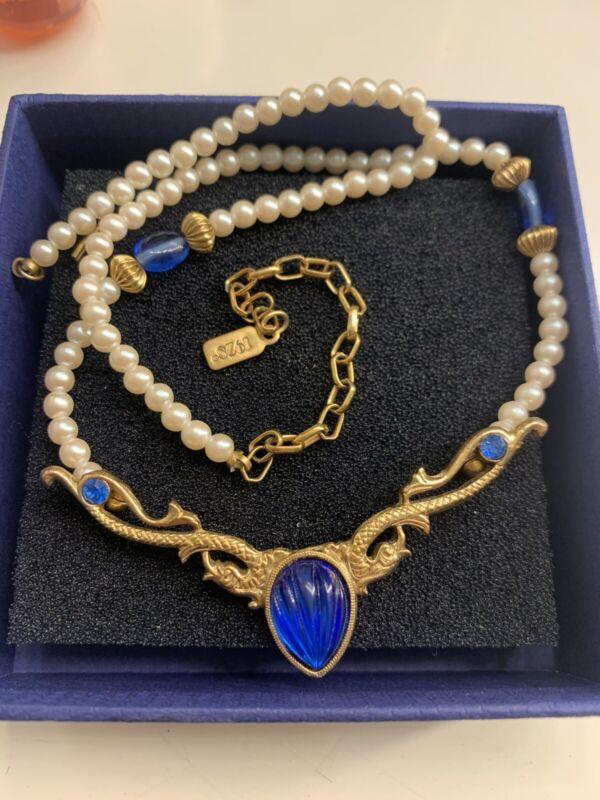 1928 Bright Blue Melon Cut Glass & Pearl Necklace