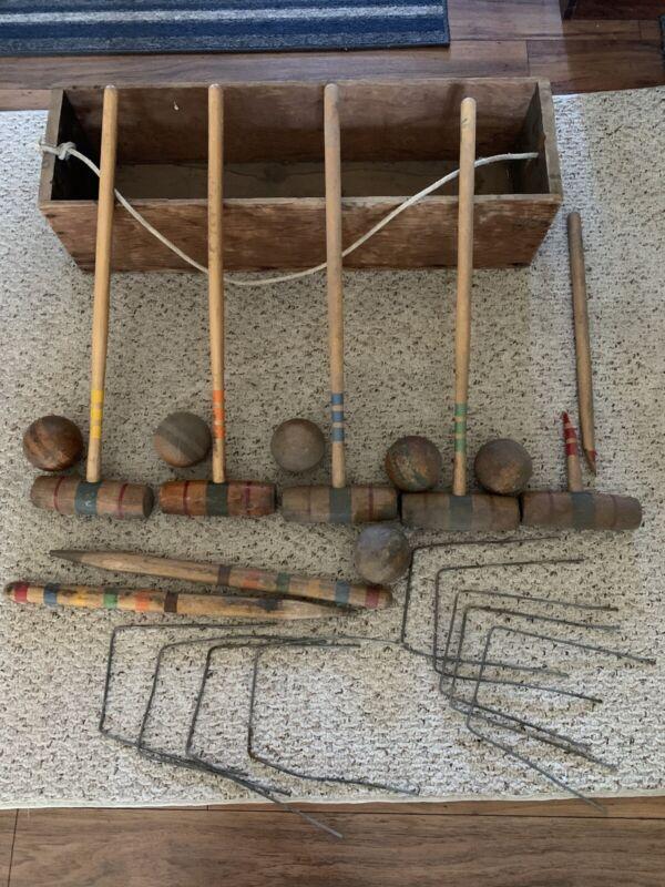 Vintage Antique Wooden Croquet Set in Original Wooden  Box OLD!!!!