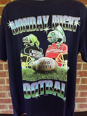 Bud Bowl    Vtg Monday Night Football Abc Bud Bowl T Shirt Xl Large