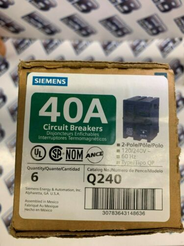 Siemens Q240,  BOX OF (6), 2 pole 40 Amp 240 Volt Circuit Breakers- NEW