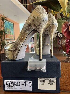 Sergio Rossi Platform High Heels Shoes Snakeskin Sexy Gold/Beige Size 7.5
