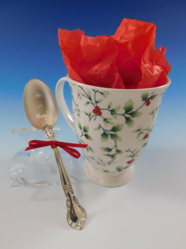 Stir up Magic Holiday Gift Set Winterberry Coffee Mug with Sterling Silver Spoon