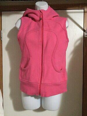 Lululemon 6 Womens Vest Hooded Zips Pink Sleeveless