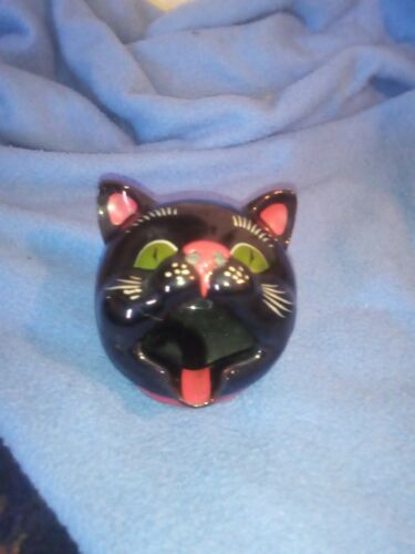 Vintage -Black Cat Head Ashtray Japan  SHAFFORD NM -RARE