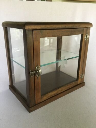 Antique Wood Store Counter Display 2 shelf Cabinet -etched Knights Templar Cross