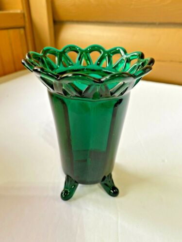 Vintage Imperial Glass Lace Edge Hat Pin Holder Vase Stiegel Forest Green