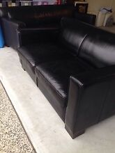 Black 100% Leather sofas (Freedom) Ashmore Gold Coast City Preview