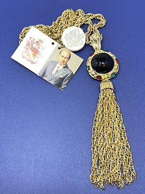 Vtg Paolo Gucci Gold Tone Cabochon Round Jeweled Tassel Pendant Necklace
