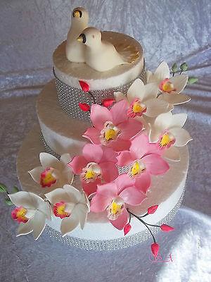 Zuckerblumen  Zucker Orchideen Alle Farben    schöne Tortendekoration Hochzeit ()
