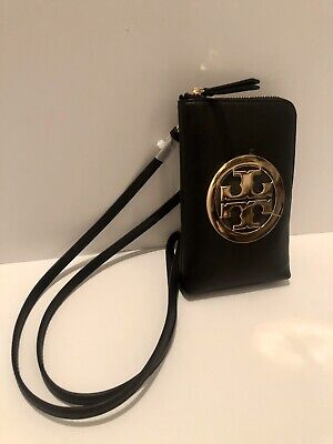 TORY BURCH CHARLIE PHONE CROSS-BODY Bag In Black Leather Gold Logo NWT