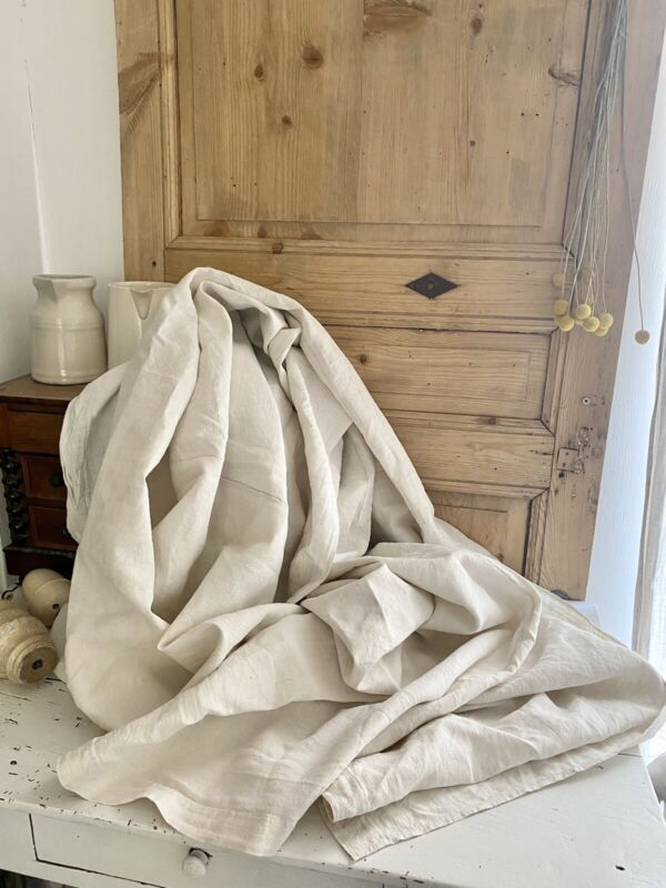 PRIMITIVE rough French HOMESPUN LINEN central seam WASHED c1830