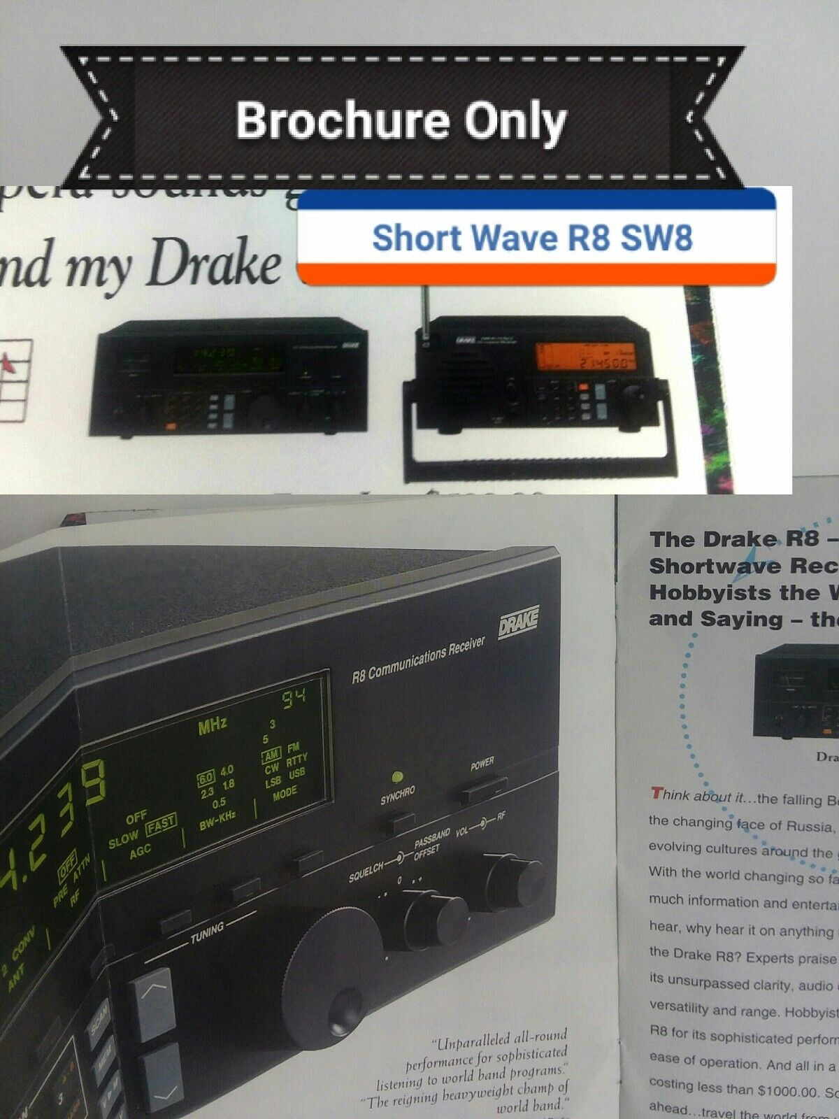 Drake Short Wave Radio R8 and SW8 Advertising Brochure Pamph