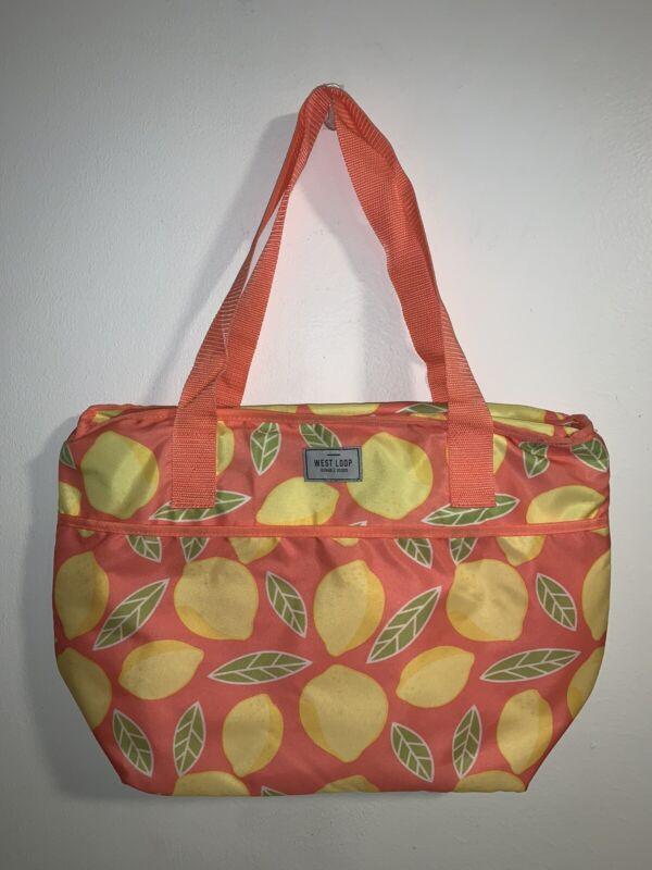 """Westloop Insulated  Large Lemon Print Tote Bag 13""""x19"""""""