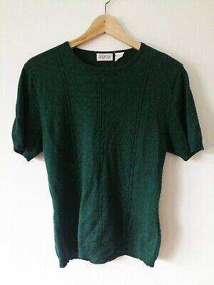 Vintage Silk Cashmere Green Jumper, Short Sleeve, Size Medium, Deane & White