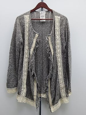 Jamie Gries Collection Embroidered Cardigan -Gray - S