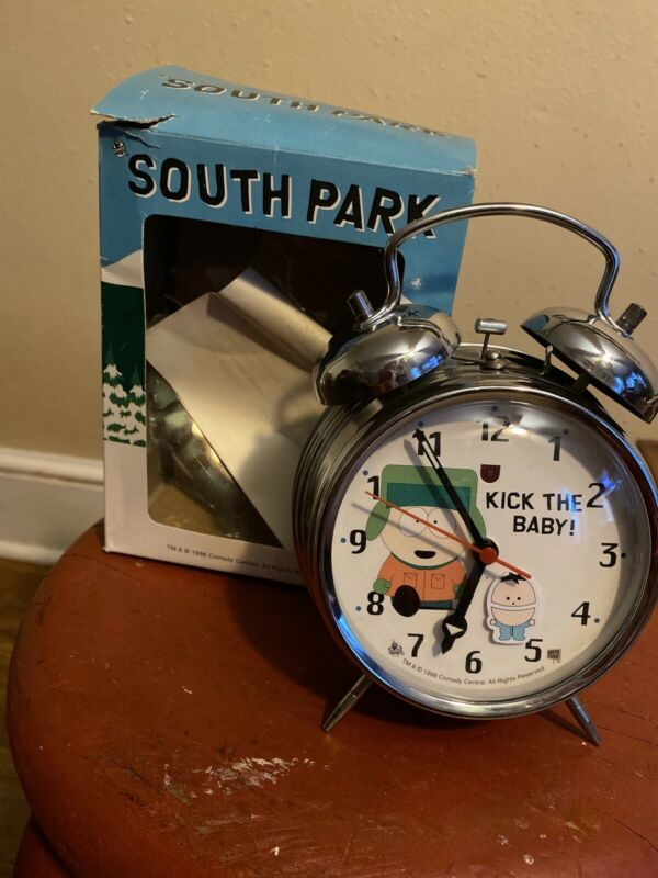 South Park KYLE KICK THE BABY  Wind Up Clock with Alarm - 1998 Comedy Central