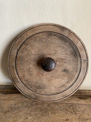 BEST Big Old Antique Wooden Canning Crock Jar Handmade Lid Patina AAFA