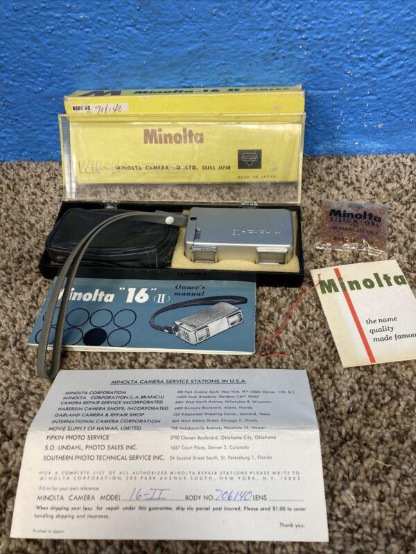 Vintage Minolta 16 II Subminiature Spy Camera With Original Packaging 1960