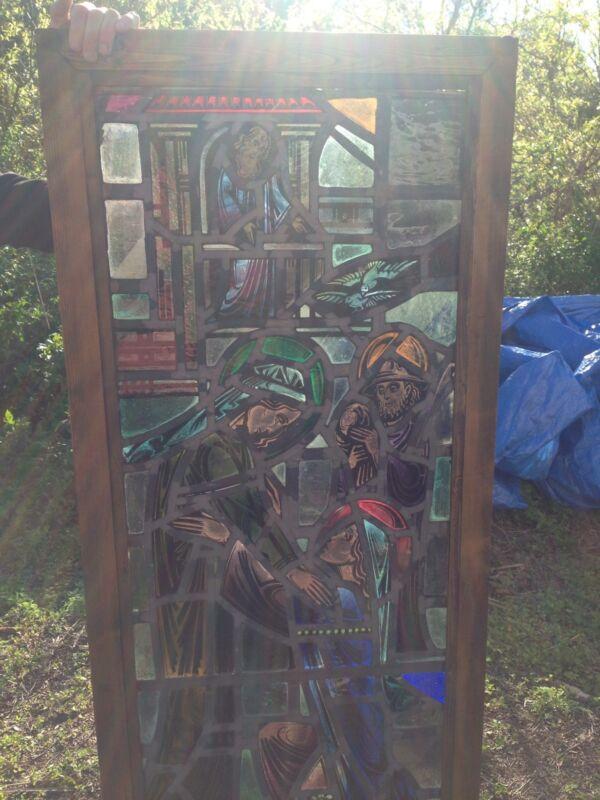 Religious Figural Window Antique
