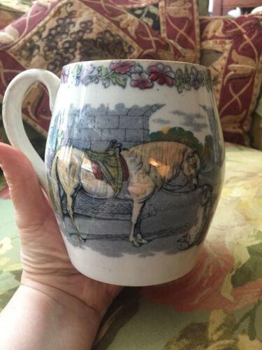 VICTORIAN Sir Edwin Landseer DOG/HORSE transferware English Pottery MUG/TANKARD