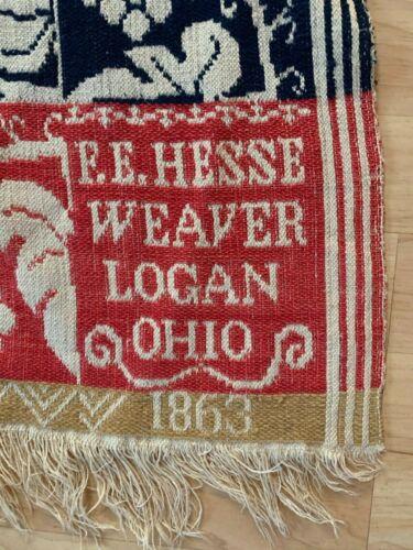 Antique F.E. Hesse Logan, Ohio. Woven Coverlet 1863,  Rose, Indigo & Gold Cream