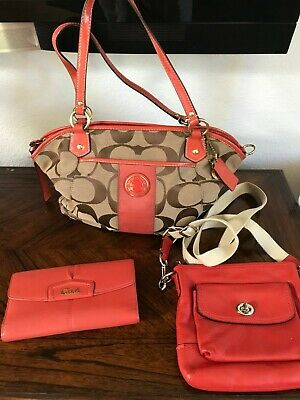 COACH Signature Stripe Pocket Tote Bag 19203 Khaki/Persimmon + Wallet+ Crossbody