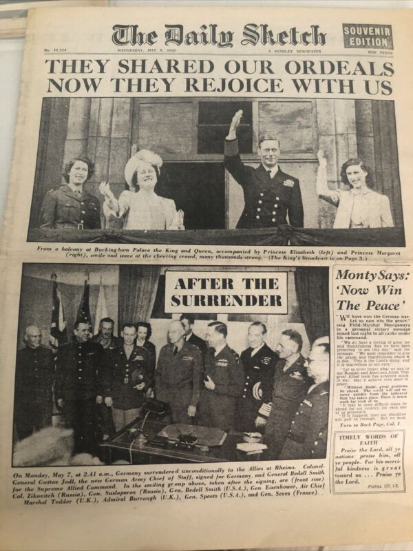 London Newspaper Dated May 9, 1945 GERMANY SURRENDER, The Daily Sketch
