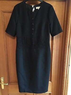 BURBERRY London Women's Black Dress Half Sleeve with Lace Detail UK Size 10