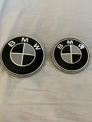 bmw black carbon fiber hood and teunk emblem (82 & 74 mm) pair