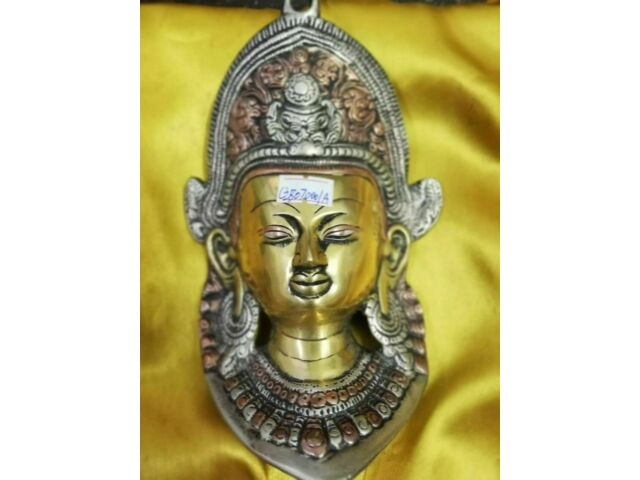 Old Ancient Tibet Collect Buddhism Bronze Green Tara Buddha Head Mask Statue A