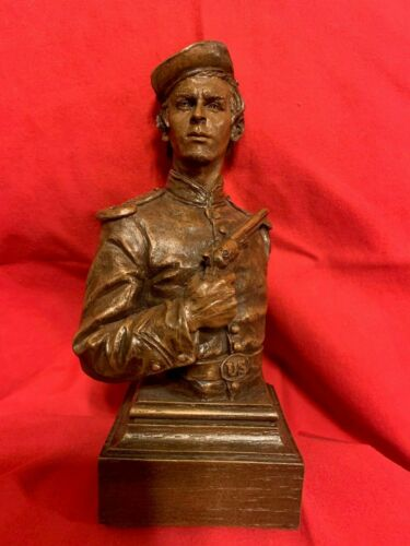 Ron Tunison Cold Cast Bronze Bust/Sculpture Billy Yank With Colt Navy Revolver