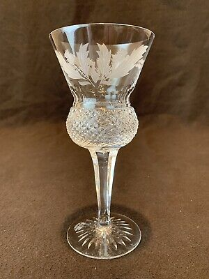 Edinburgh Crystal Thistle Wine Hock Glass Cut SIGNED 6 1/2