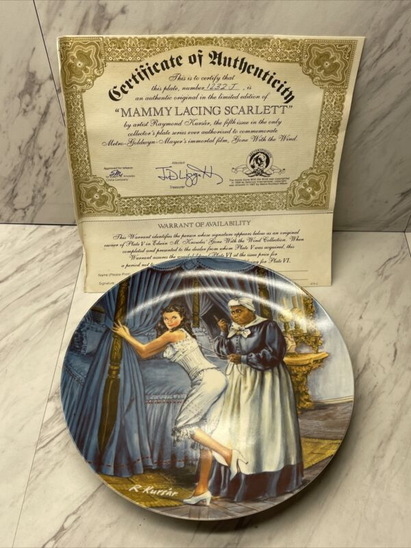 """The Edwin M knowles china co """"Mammy Lacing Scarlett"""" With Certificate Preowned"""