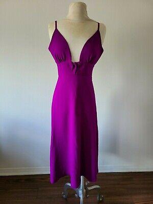 Women's_Magenta A-line Solid tunic halter v-neck Spagetti  strap midi dress