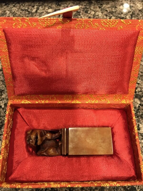 Vintage Chinese Hand Carved Soapstone Chop Seal Foo Dog With Box Excellent Cond
